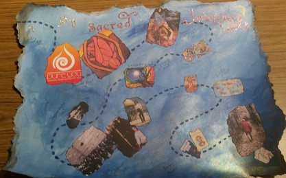 My Sacred Journey: a treasure map of my past & present, ending with an image representing my future.