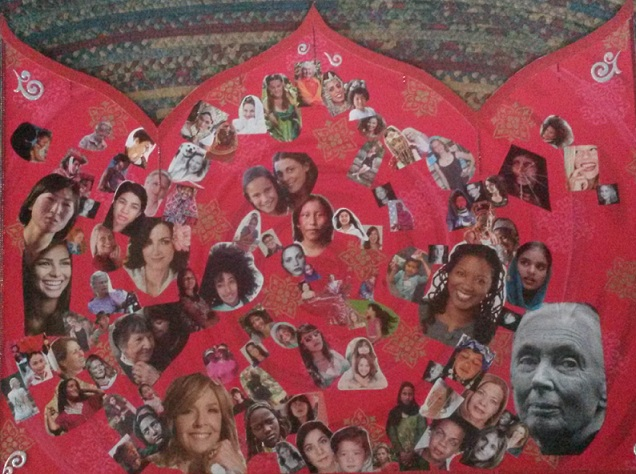 The collage honors women of all ages & cultures.