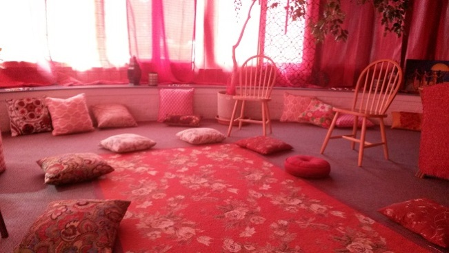 The Sacred Wisdom Circle where women could gather & share in a large group.