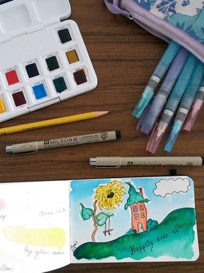 Traveling Art Kit:  can hold everything from watercolors to a glue stick & bits of fabric.