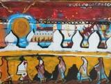 Monks Walking: an original collage on paper.