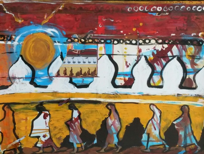 Monks Walking is an original collage- acrylic paint & bits of magazine images on 18 inch by 24 inch mixed media paper.