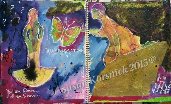 Transformation- welcoming in the new. A mixed media art journal piece.