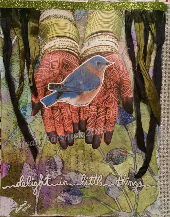 Delight in Little Things:  mixed media art journal page