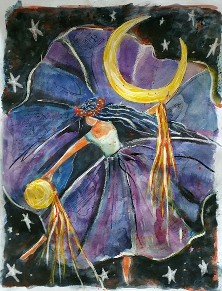 Moon Dancer- mixed media on paper