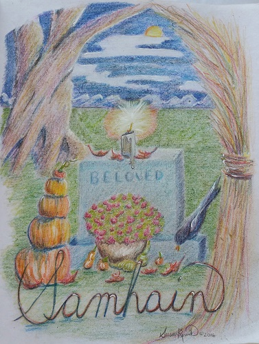 Samhain- colored pencil on linen