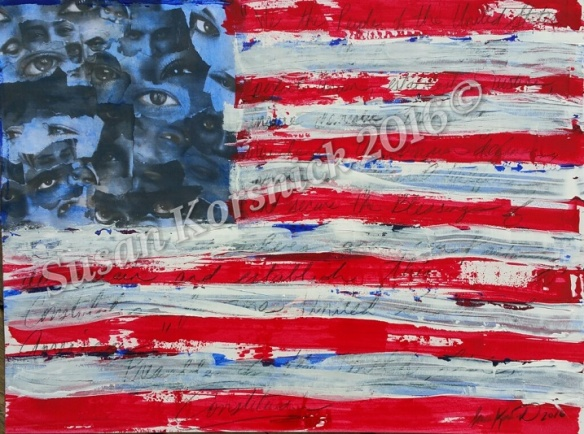 We The People- Part 1:  mixed media on 18 x 24 paper.